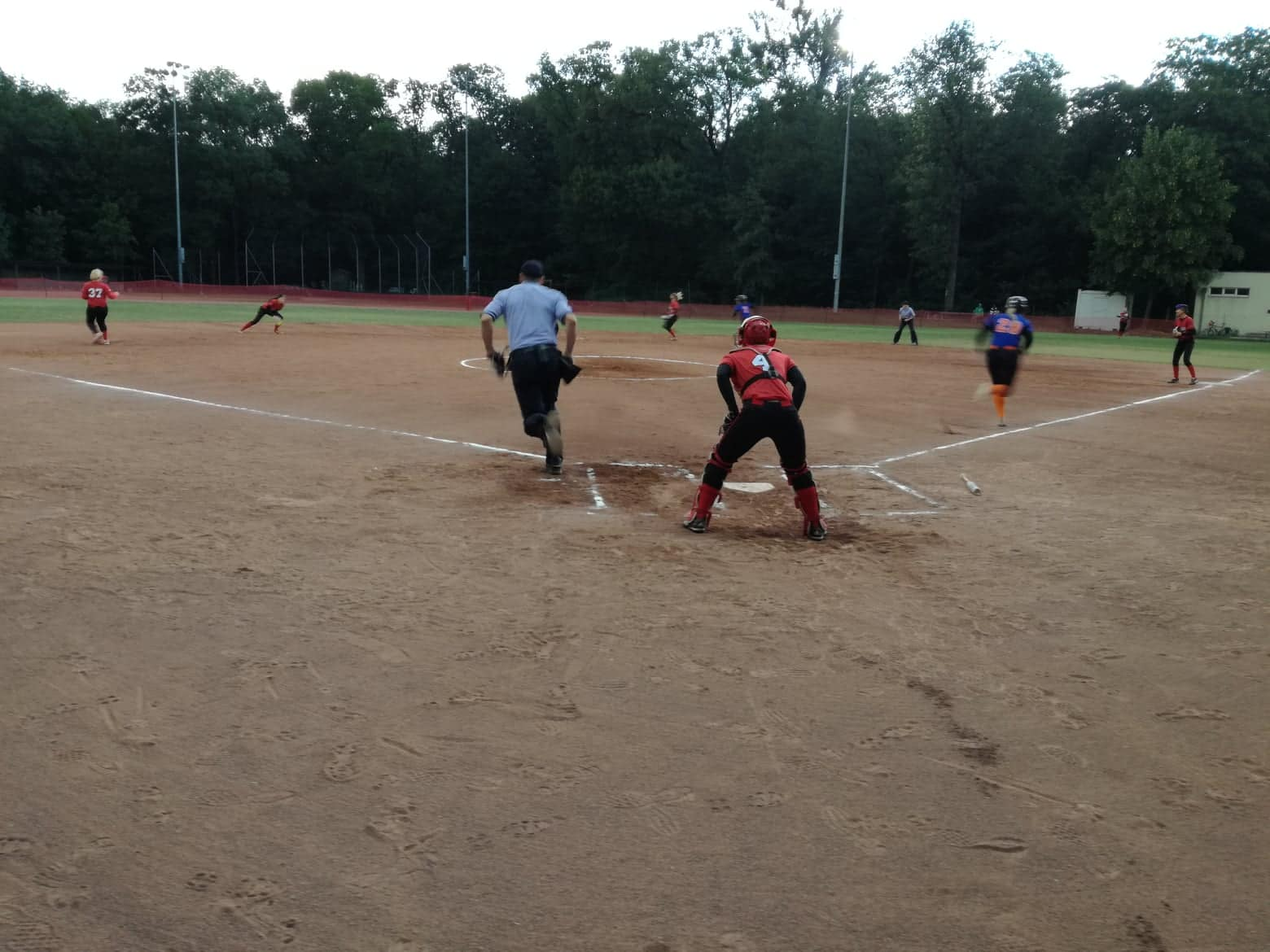 Jess Mehr making her way to first base